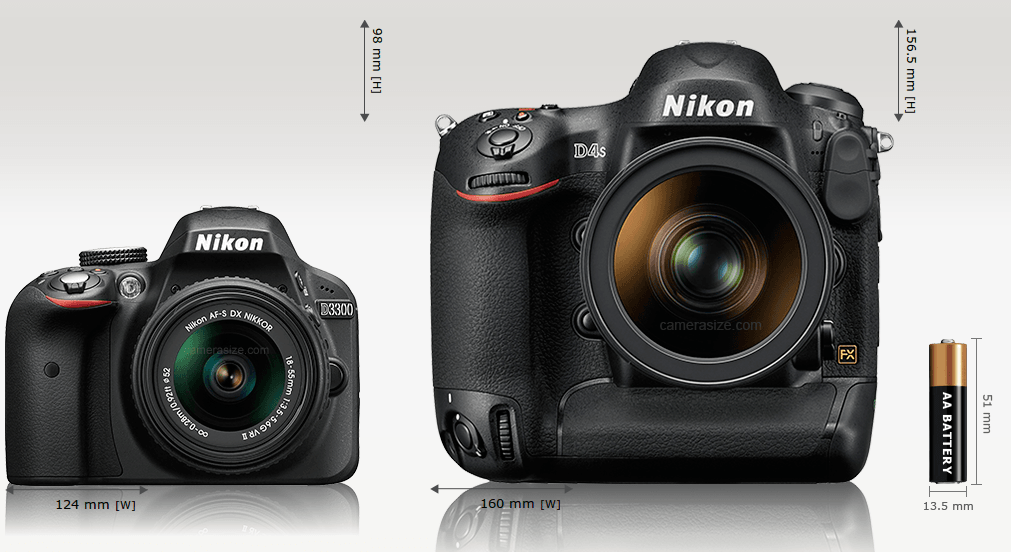 L'entrée de gamme comparée au super pro de Nikon - © Camerasize